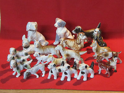 Vintage lot of 22 porcelain dog figurines, various breeds, lot #