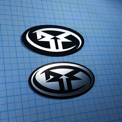 2 x Rockford Fosgate - METALLIC Case Logo Sticker Badge - 60 mm / 32 mm