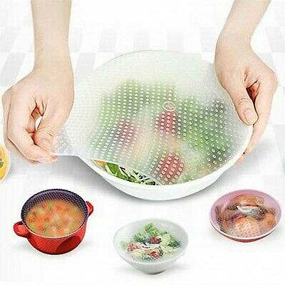 Re-usable Silicone Wrap Seal Cover Stretch Cling Film Food Fresh Keeping Tool UK