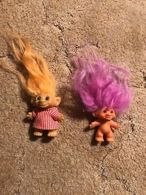 """Lot Of 2 Vintage 3"""" Trolls Gold And Purple Hair"""