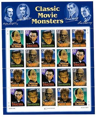 OddLots:™ US • Scott # 3172a, 32¢ Classic Movie Monsters, 5 Types, Pane of 20