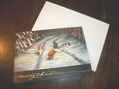 "Original Cavalier King Charles Christmas "" Winter Stroll"" cards 5x7 set of 4"