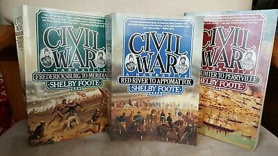 The Civil War - A Narrative By Shelby Foote - Set Of 3- Paperback Books