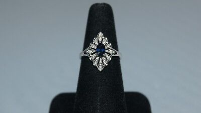 Vintage Antique Diamond Sapphire 14K White Gold Art Deco Ring Size 8