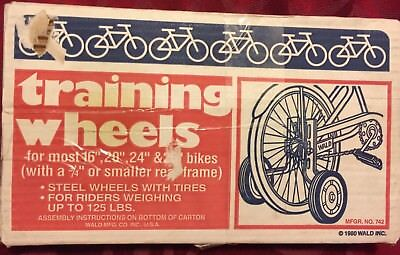 """Vintage WALD Children's 16""""-26"""" Steel Bicycle TRAINING WHEELS New Open Box #742"""