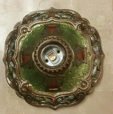 1920s ANTIQUE LASALLE ART DECO NOUVEAU CAST IRON FLUSH MOUNT CEILING LIGHT