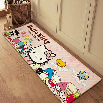 Pink Hello Kitty Cat Front Doormat Non-Skid Carpet Bathroom Bed Room Plush Rugs