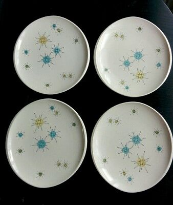 "4 Franciscan Starburst 11"" Dinner Plates in Excellent Condition"