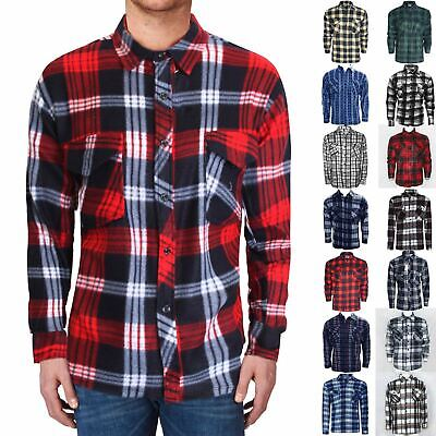 Men'S Fleece Shirts Button Check Print Lumberjack Warm Worker Flannel Tops M-3Xl