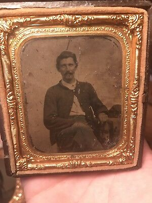1/6th Plate Tintype Of Civil War Soldier