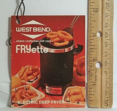 [M39]Vintage 70s West Bend Fryette Electric Deep Fryer L-3063 Instruction manual
