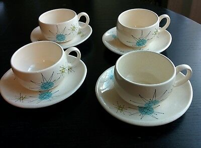 4 Franciscan Starburst Tea Cup & Saucer (4 cups & 4 saucers) Excellent Condition