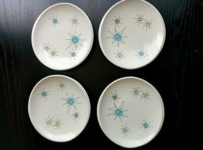 "4 Franciscan Starburst 6 x 6.5"" Bread Plates Excellent Condition"