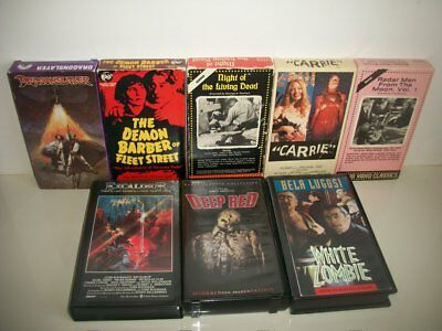 Vintage Lot of 8 VHS Horror Tapes Carrie Night Of Living Dead Deep Red OOP