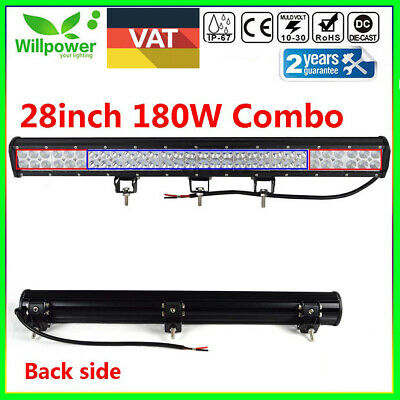 27/28inch 180W LED Work Light Bar Flood Spot Combo Offroad Car UTE SUV 4WD 12V
