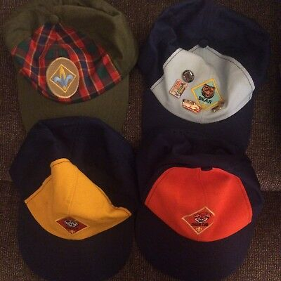 Lot Of 4 Cub Scout Hats Tiger Bear Wolf Webelos Used