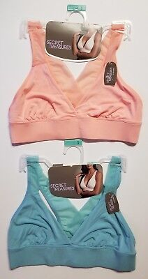 e676260ee1101f Secret Treasures Bralette  2 PACK  PALE PEACH AQUA PEARL S BRA NWT  SHIPS