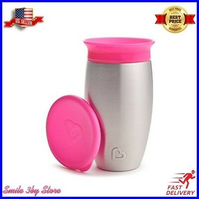 Munchkin Miracle Stainless Steel 360 Sippy Cup, Pink, 10 Ounce NEW Fast Ship