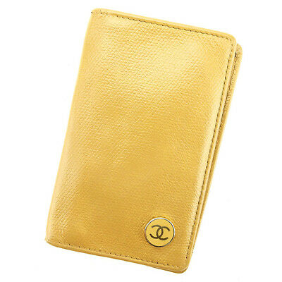 Auth CHANEL Card Case COCO Button Ladies Men''s Yes used J21244