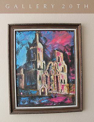 MID CENTURY MODERN MISSION CUBIST ORIG. OIL PAINTING! Art Vtg Abstract 50's 60's