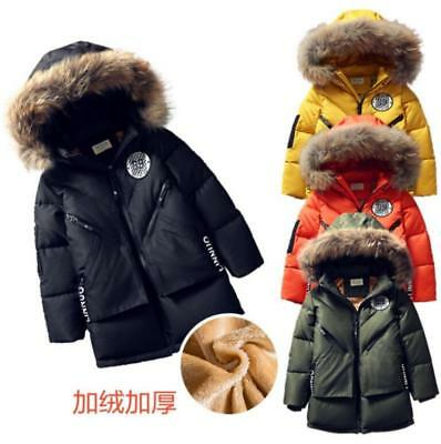 New Kids Boys Fur Hooded Fleece Lined Jacket Warm Parka Padded Coat Outerwear