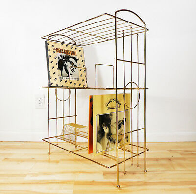 Vintage Mid Century Modern Hollywood Regency Brass Wire Vinyl Records Rack