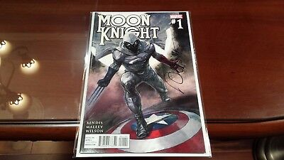 Moon Knight 1 Brian Michael Bendis SIGNED BY ARTIST ALEX MALEEV HOT!! SUPER RARE