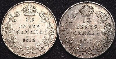 2x 1912 Canada 10 Cent Silver Dimes - XF/AU Extra Fine Almost Uncirculated