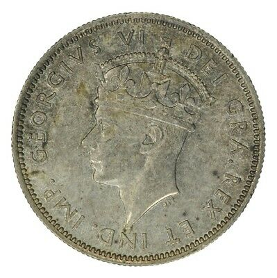 1938 Cyprus Silver 9 Piastres, King George Vi, Unc Toned