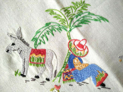 """Mexican /Donkey /Cart & Cactus - Vintage Hand Embroidered Tablecloth 36""""Sq"""