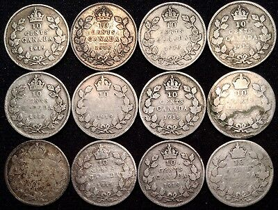 1918 1919 Canada 10 Cent Sterling Silver Coins Dimes - LOT of 12 - $1.20 Face