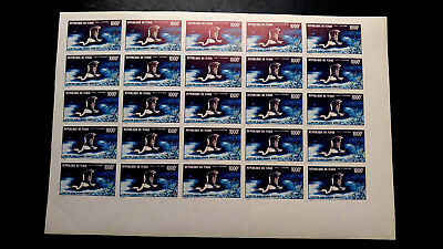 "Rare Chad High Value Flying Egret ""Imperf Complete Sheet Mnh Cat Value 2000.00"