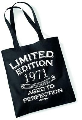 49th Birthday Gift Bag Tote Shopping Limited Edition 1971 Aged To Perfection Mam