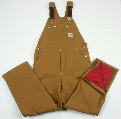 Carhartt Quilted Lined Insulated Tan Brown Khaki Bib Overalls 38x32 38 USA Union