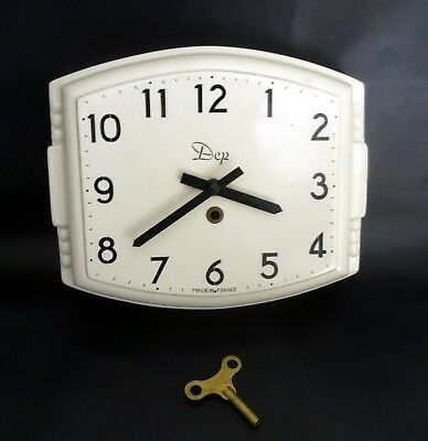 Large French Vintage Porcelain Wall Clock by DEP – Industrial/Loft Deco Late 194