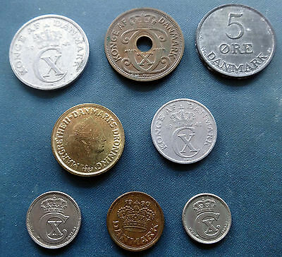 DENMARK - Collection of 8 coins 1920 and later