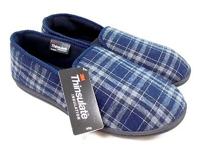 Mens Thinsulate Ex Store Slippers New Navy Check Padded Insole Shoes Size 7 - 12