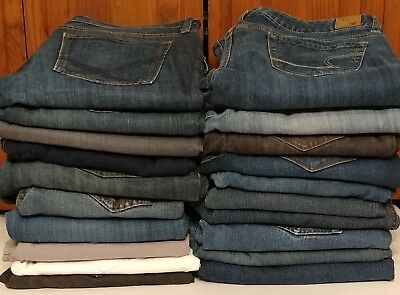 Lot Of Womens Jeans 20 Pair Wholesale Mixed Assorted Sizes And Brands For Resale