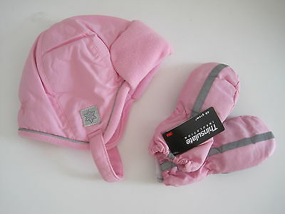 FADED GLORY Girl Hat Mittens 2T 3T 4T 5T Toddler Pink Thinsulate LOT of 2 New