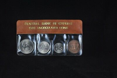1980 Cyprus Coin Set In The Official Case Of Central Bank Of Cyprus