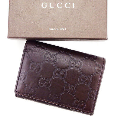 Auth GUCCI business card holder GUCCI Shima unisexused L1678