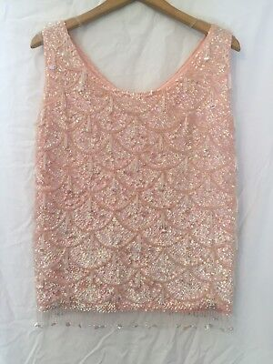 Vintage Cashmere Sequinned and Tasseled Tank Top Hong Kong 8-10