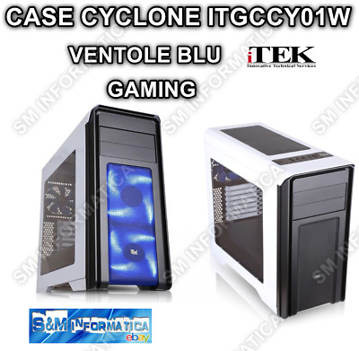 Case Pc Gaming Atx Cyclone Itek Itgccy01W Ventole Blu Led Computer Fisso Desktop