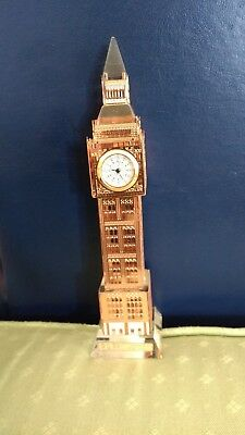 COPPER LONDON BIG BEN CLOCK-18cm SIZE-CHANGING LIGHTS -REAL CLOCK  FREE GIFT NEW