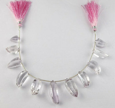 """1 Strand Pink Amethyst Uneven 7x15-9x26mm Faceted 7"""" Long Briolette Jewelry Bead"""