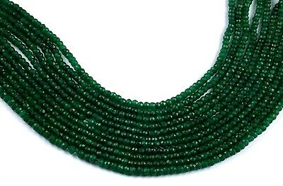 "5 Strand Green Aventurine Gemstone Faceted Rondelle Beads 3.5-4mm 13.5"" Long"