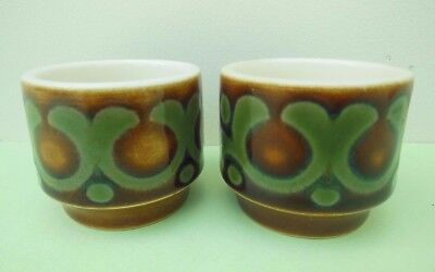 Pair of Hornsea Pottery Bronte Pattern Egg Cups 1974 Vintage 70's Retro