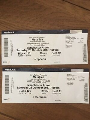 2 x Metallica tickets @ Manchester Sat 28 Oct. Good views of stage (seated)