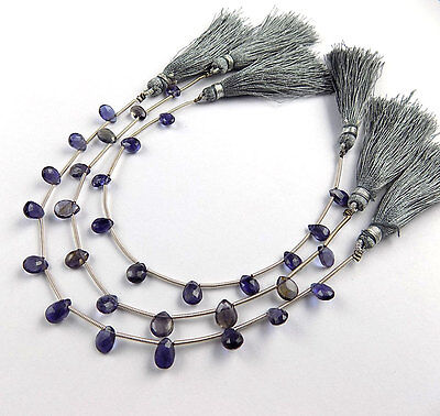 """1 Strand Natural iolite Pear Shape Approx - 7x8mm Faceted Cut Gemstone 7"""" Long"""