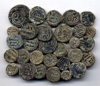 *LORACWIN* AWESOME LOT OF 30 AE FALS. GOVERNORS OF AL-ANDALUS. 8th CENTURY